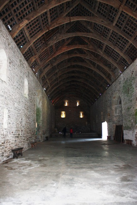 The barn's vast interior