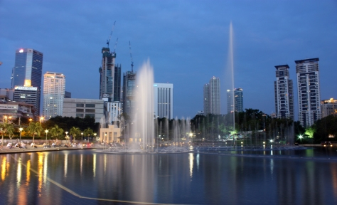 Fountains and tower blocks
