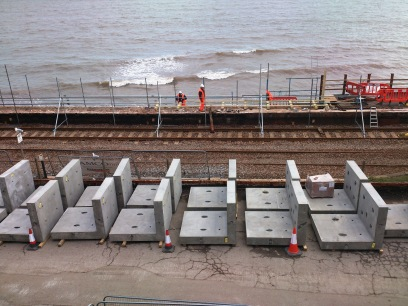 Concrete sections to repair the sea wall