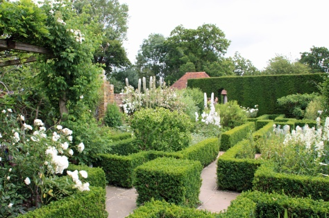 Box hedge flower beds in the white garden