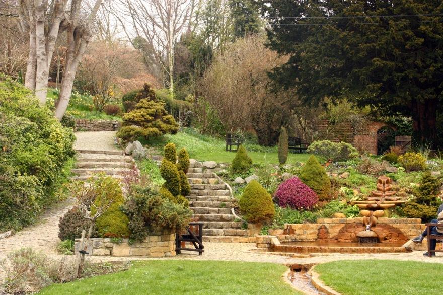 A view up through the garden