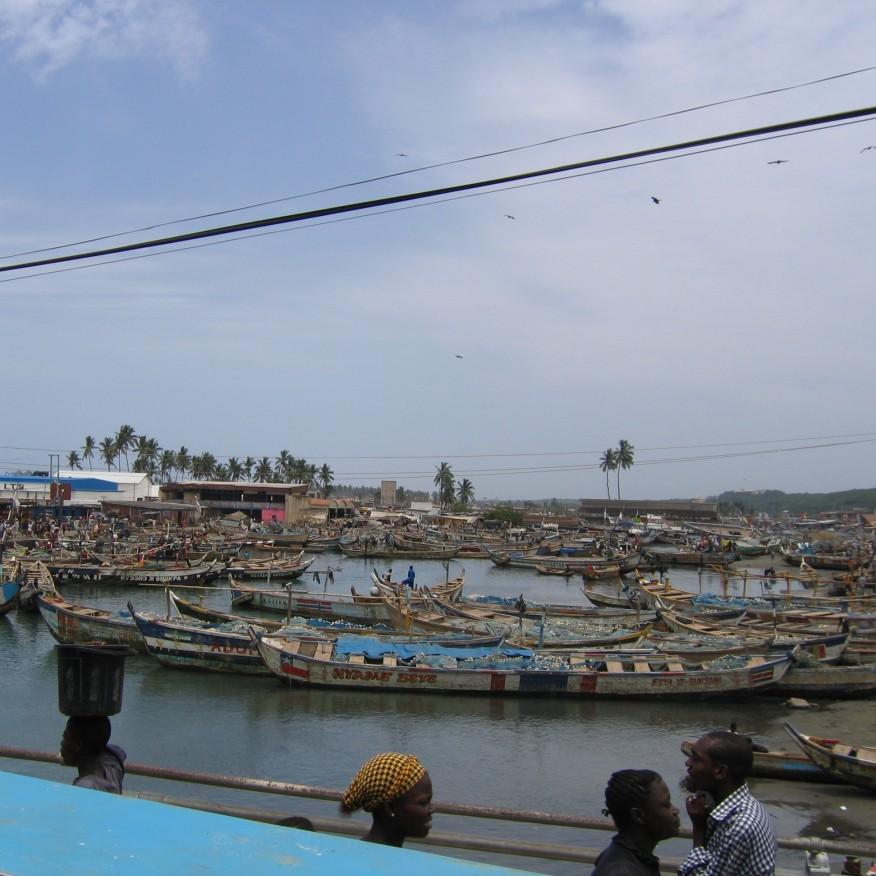 Elmina Ghana lines of boats